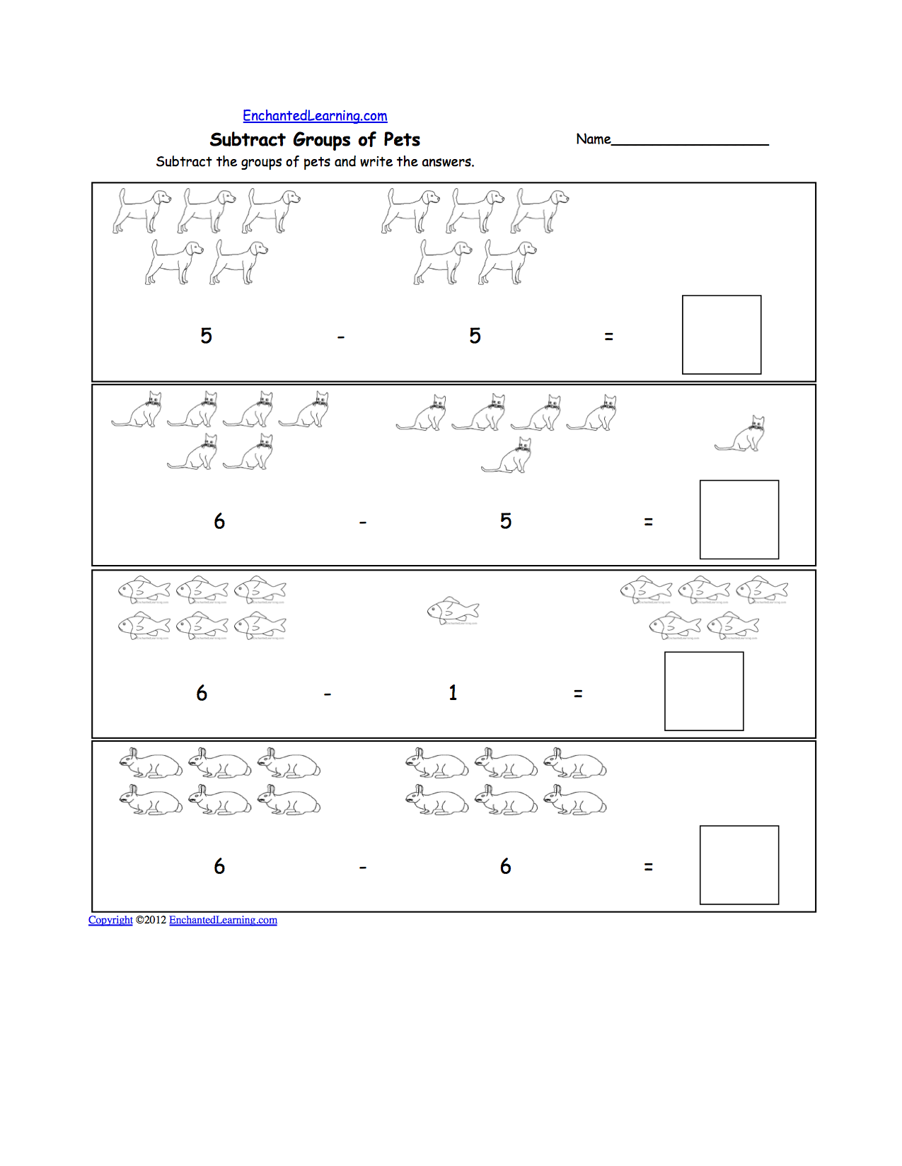Pets Math And Logic Worksheets Enchantedlearning