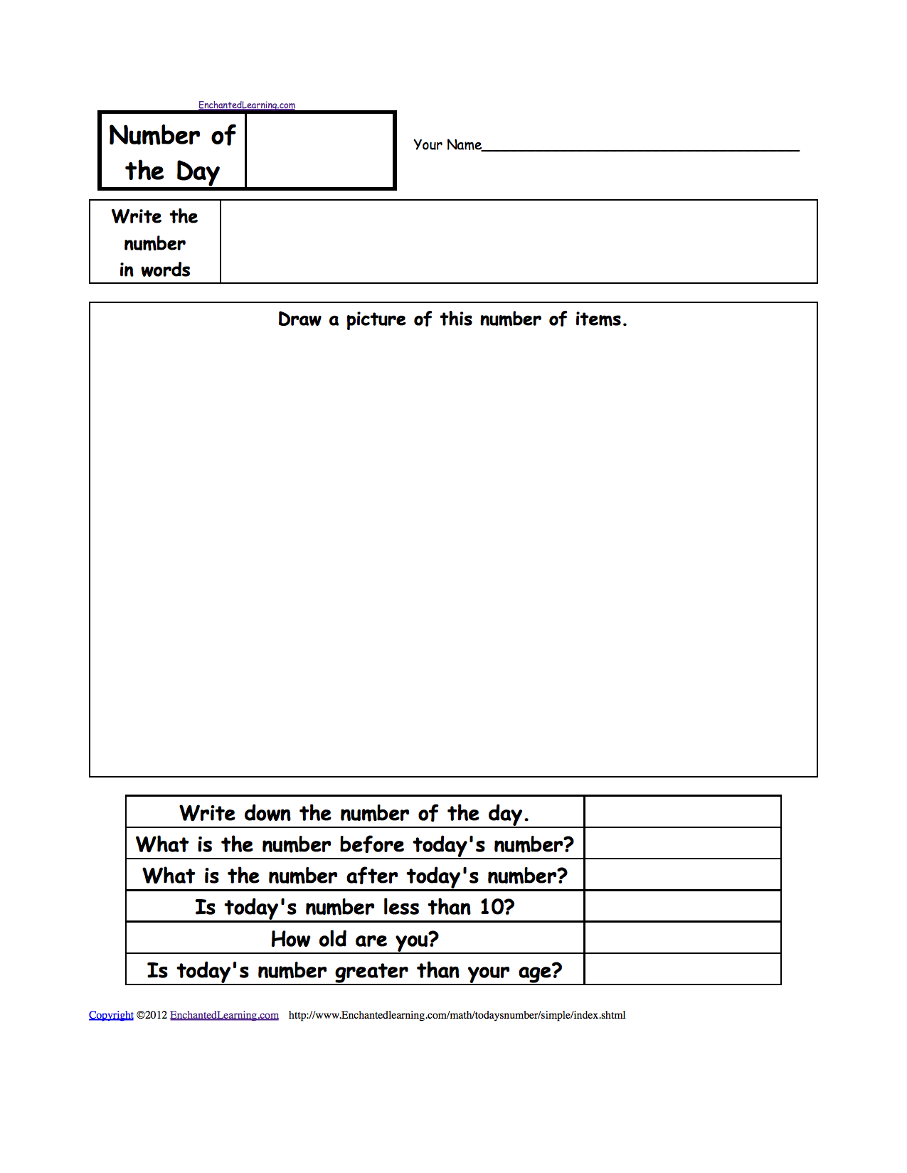 Number of the Day, A Printable Worksheet  EnchantedLearning com