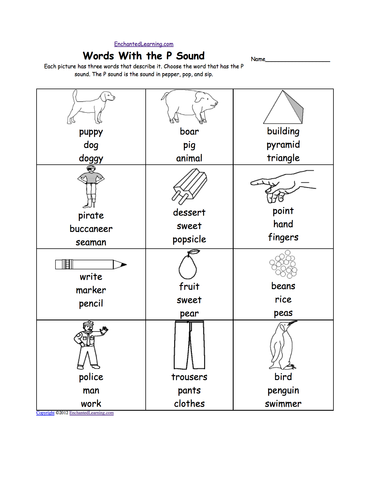 Letter P Alphabet Activities At Enchantedlearning