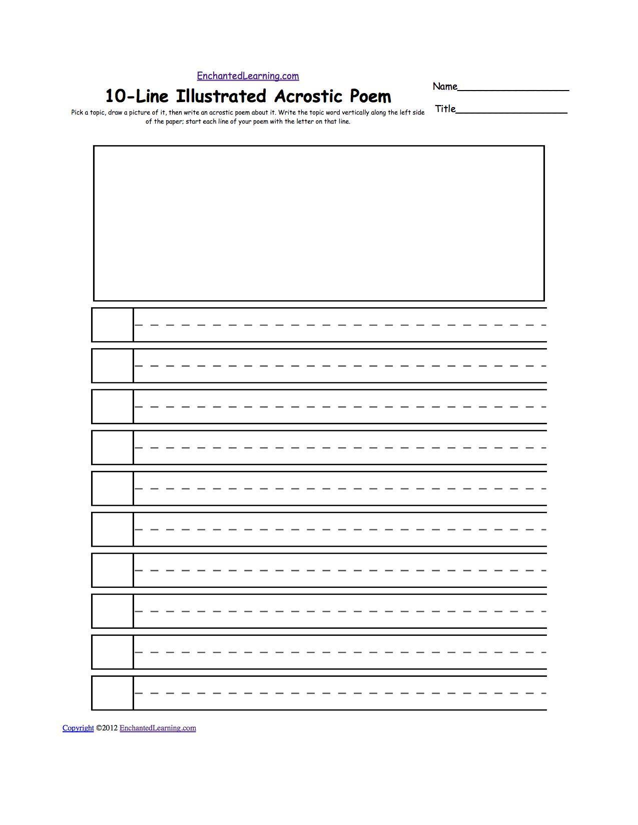 blank illustrated acrostic poem worksheets handwriting lines worksheet printout. Black Bedroom Furniture Sets. Home Design Ideas
