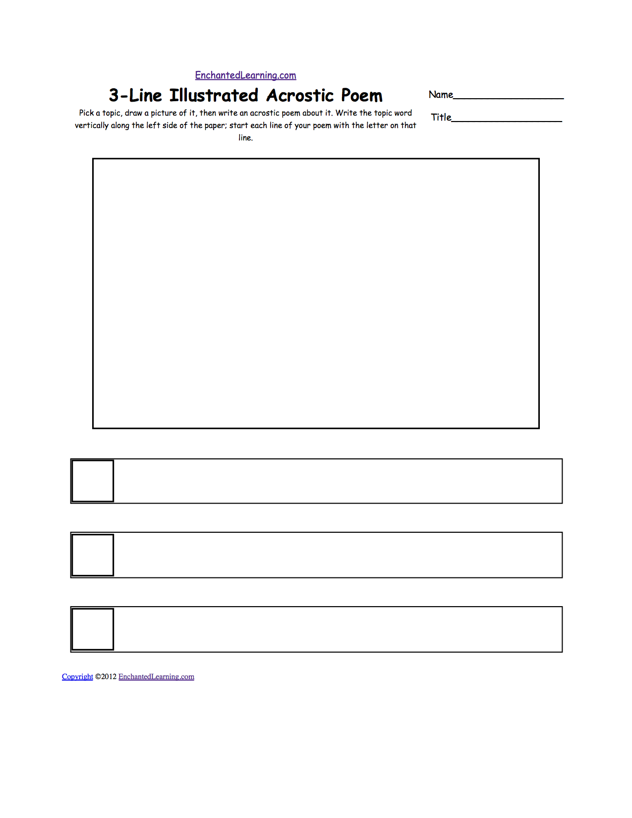 Blank Illustrated Acrostic Poem Worksheets: Worksheet Printout ...