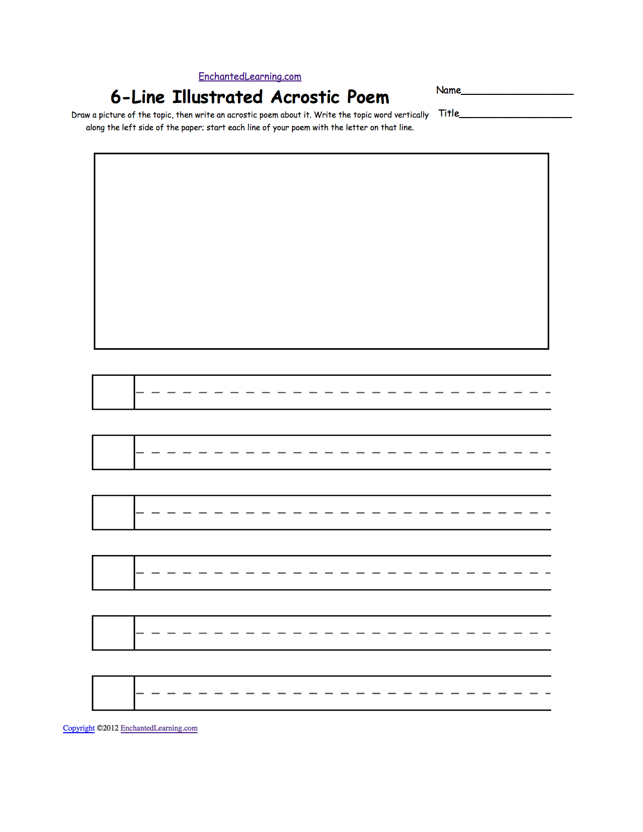 image relating to Poetry Worksheets Printable called Blank Illustrated Acrostic Poem Worksheets (Handwriting