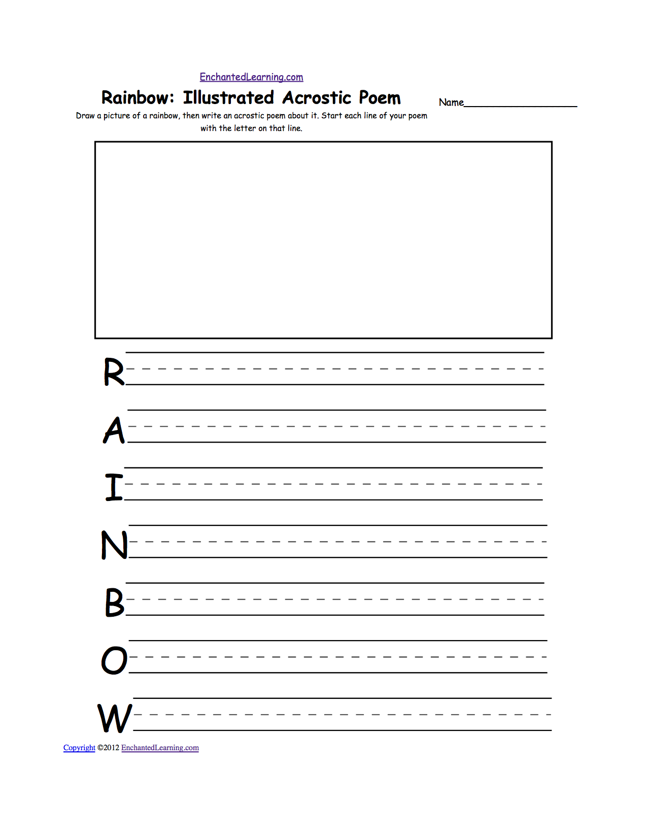 Rainbow: Illustrated Acrostic Poem Draw a rainbow, then write an acrostic  poem about it. Start each line of your poem with the letter on that line.
