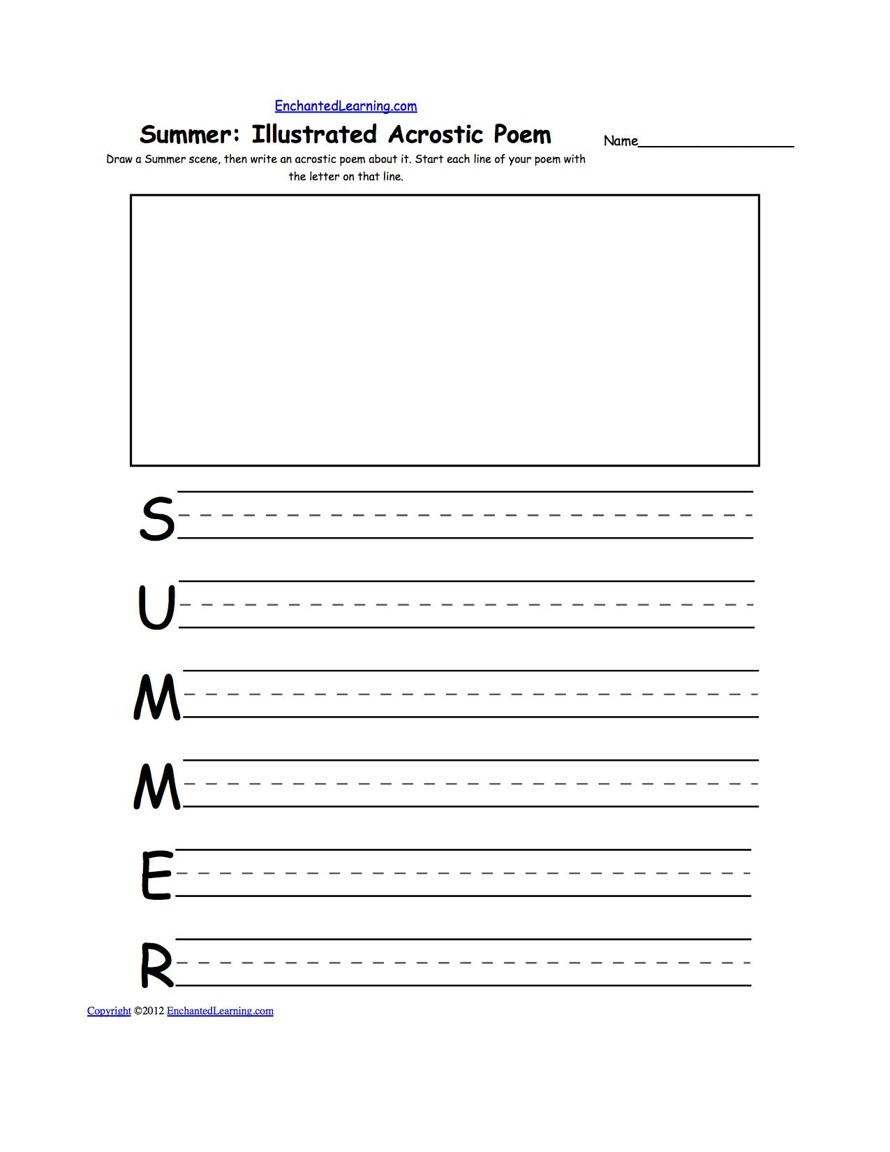 illustrated acrostic poem worksheets worksheet printout