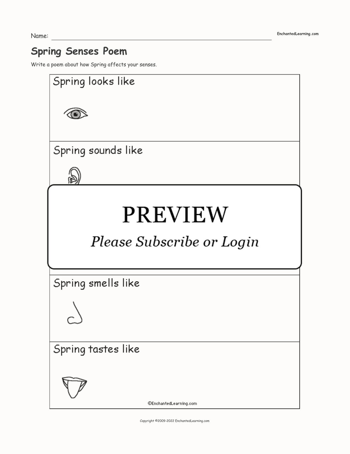 Spring Senses Poem interactive worksheet page 1