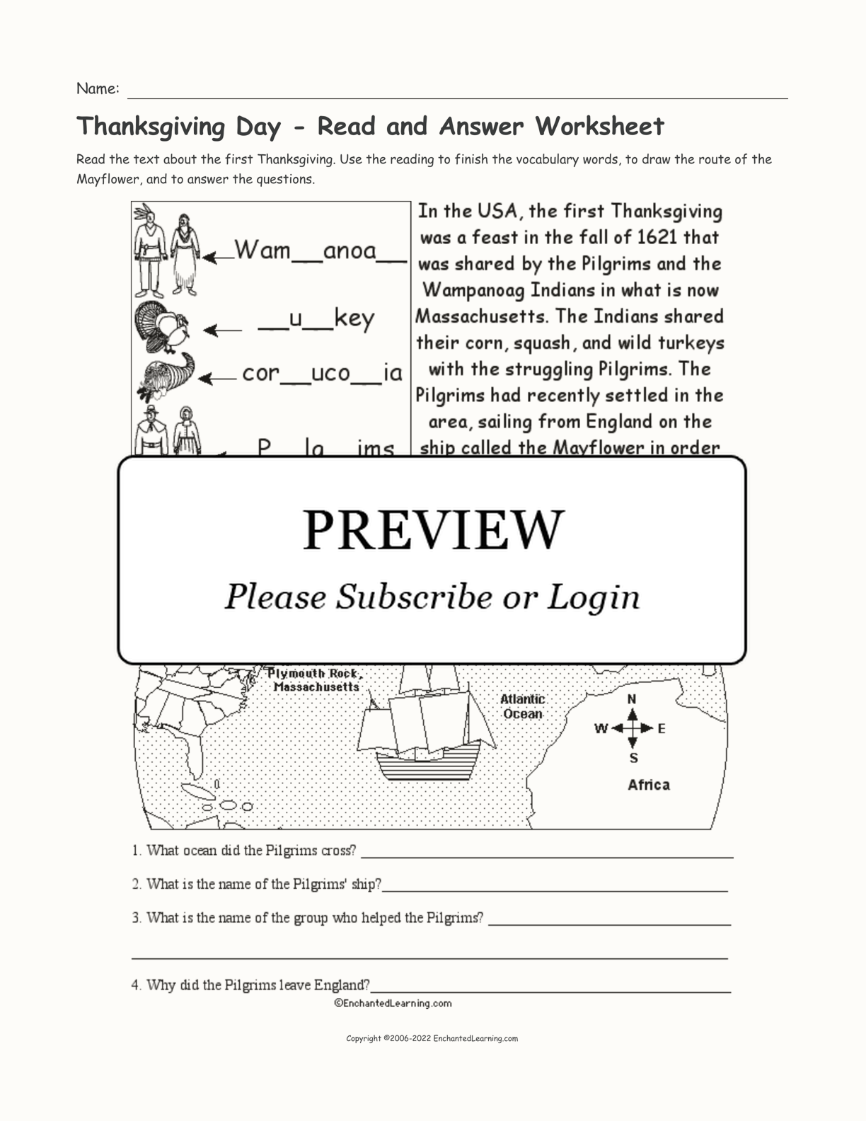 Thanksgiving Day - Read and Answer Worksheet interactive worksheet page 1
