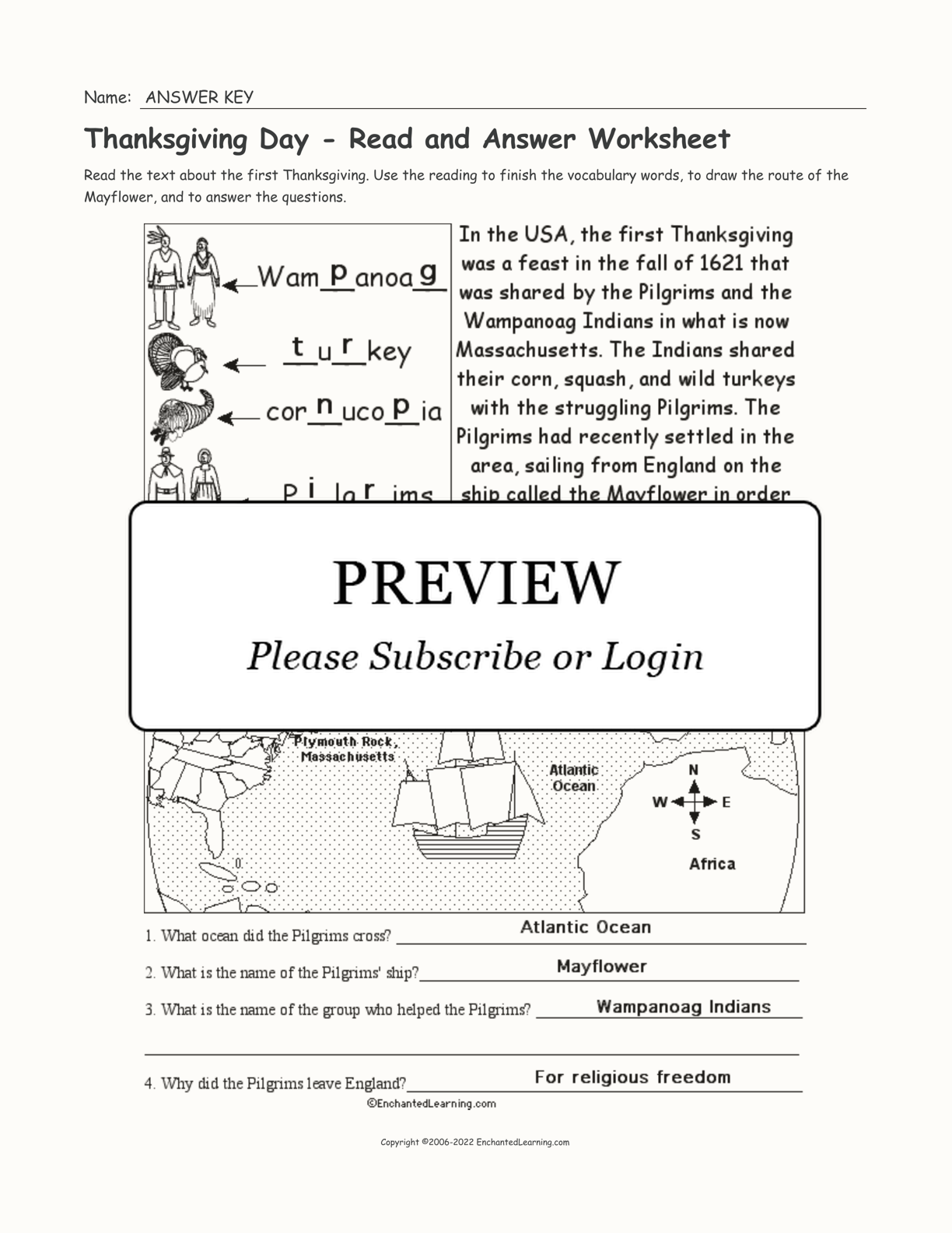 Thanksgiving Day - Read and Answer Worksheet interactive worksheet page 2