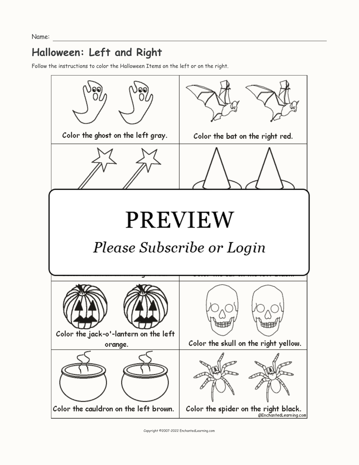Halloween: Left and Right interactive worksheet page 1