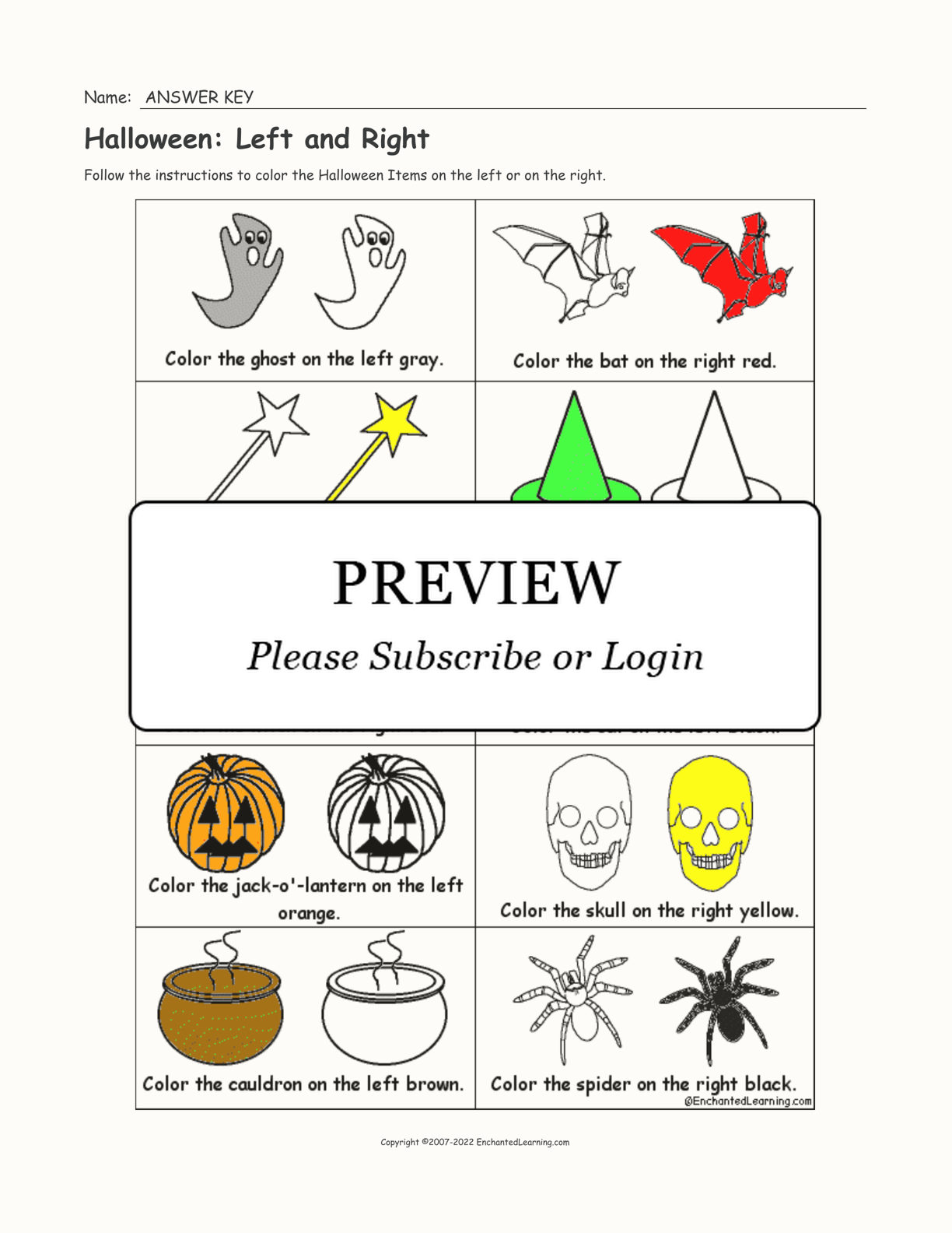Halloween: Left and Right interactive worksheet page 2