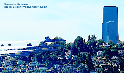All Six Blue Angels Zooming by Seattle