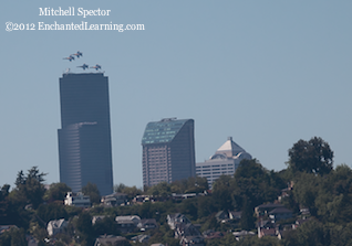 Four Blue Angels over Downtown Seattle