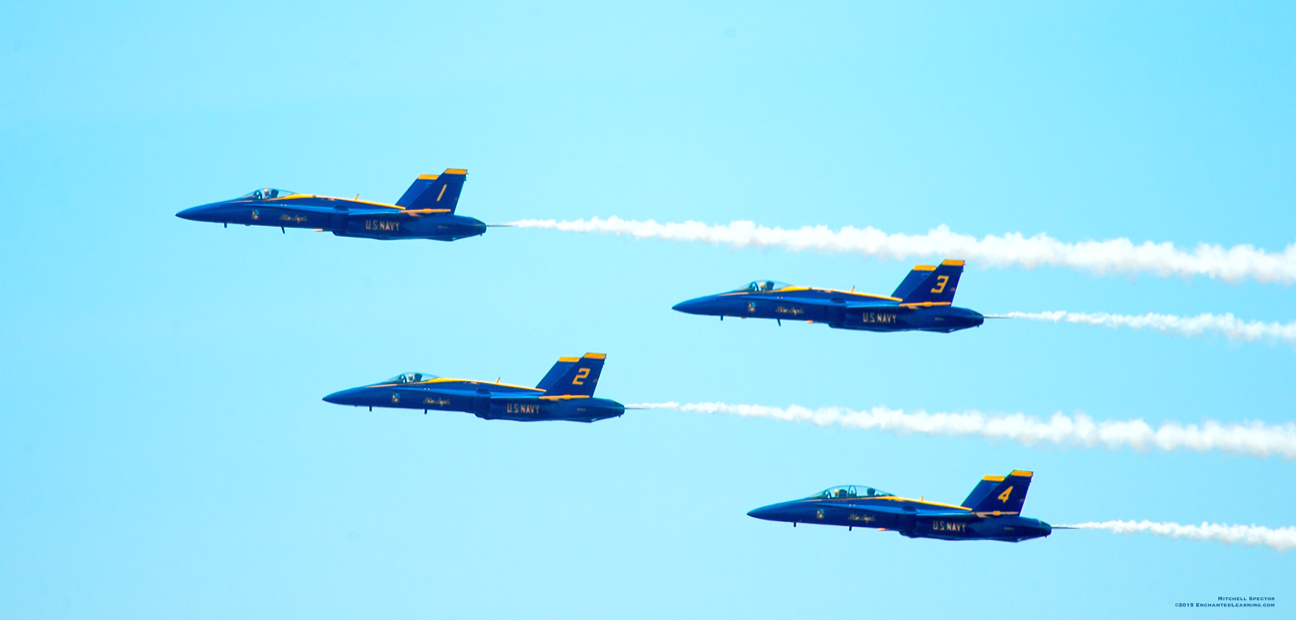 Four Blue Angels with Smoke Trails