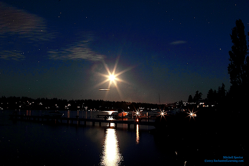 Harvest Moon in the Sky over Lake Washington