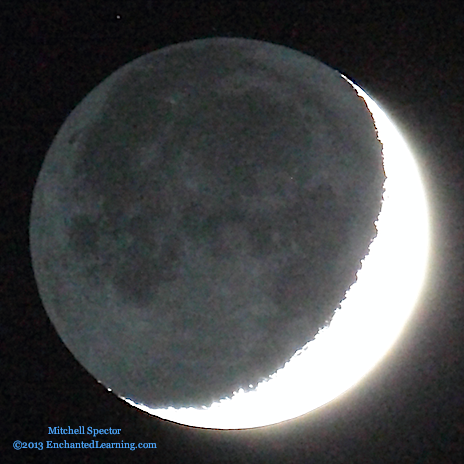 Earthshine on a Waxing Crescent Moon