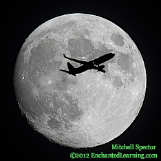 Jet Flying in Front of the Nearly Full Moon