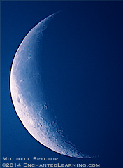 Waning Crescent Moon in the Blue Morning Sky