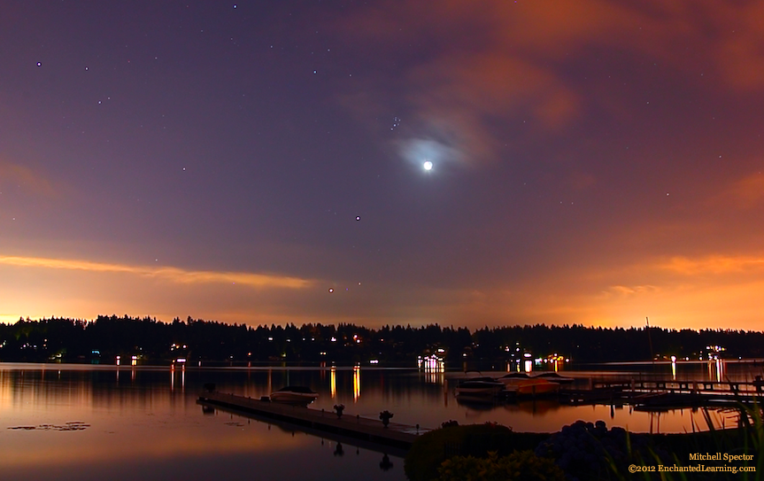 The Pleiades, Moon, Jupiter, Aldebaran, and Venus over Lake Washington