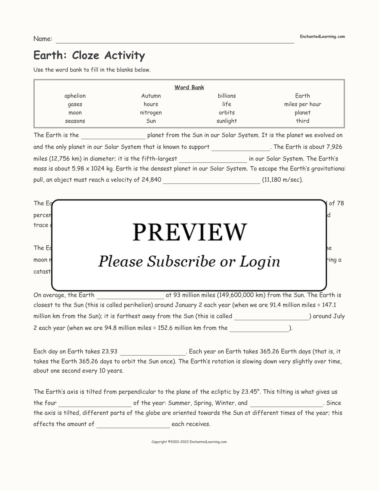 Earth: Cloze Activity interactive worksheet page 1