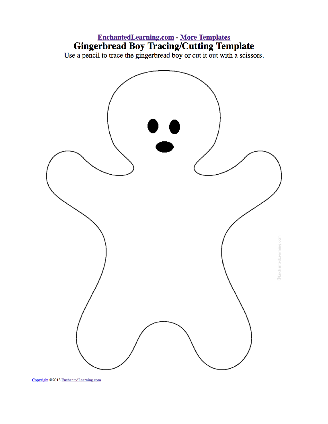 gingerbread boy trace or cut out - Cut Out Christmas Decorations