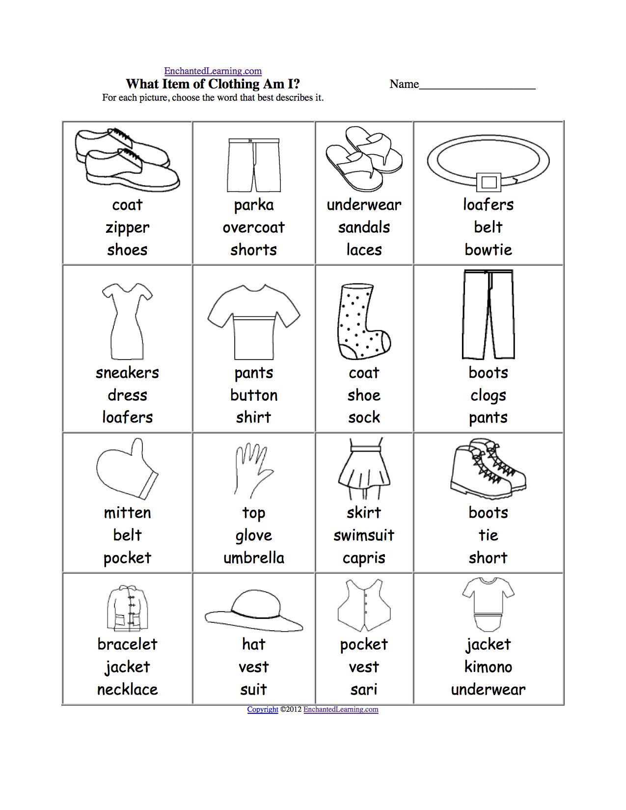 Clothes Spelling Worksheets Enchantedlearning