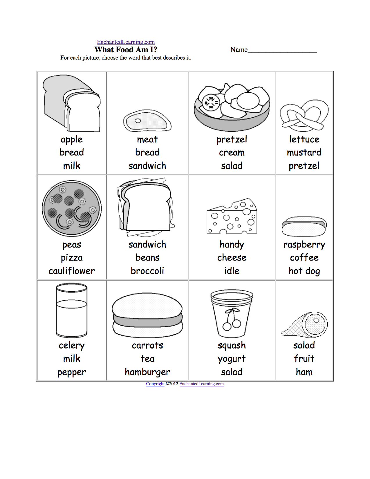 Spelling Activities Food Theme Page At Enchantedlearning Com