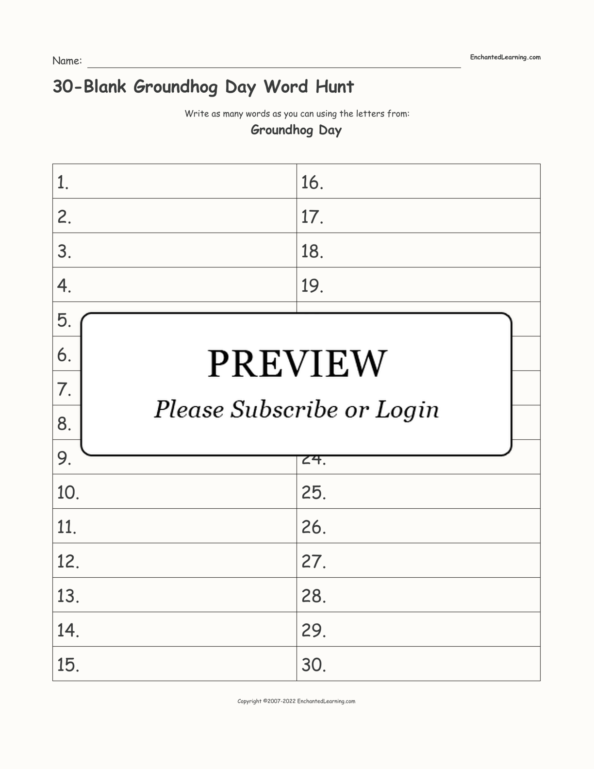 30-Blank Groundhog Day Word Hunt interactive worksheet page 1