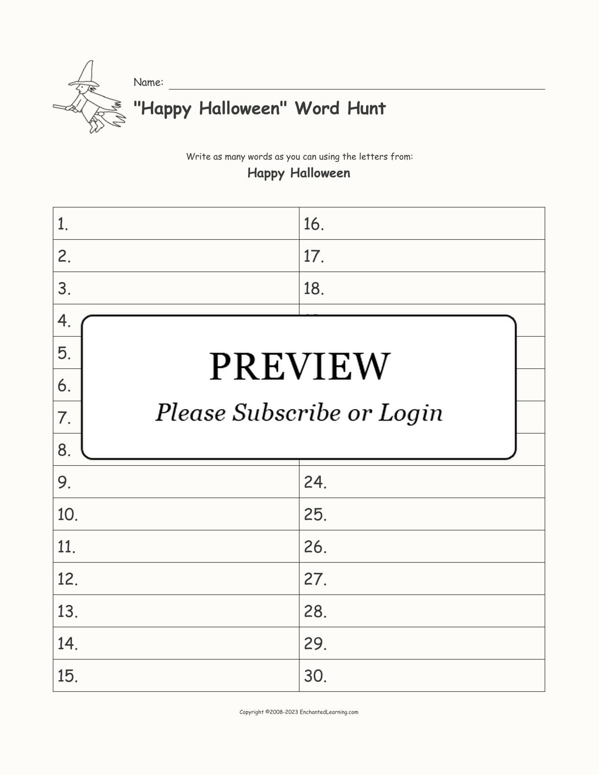"""30-Blank """"Happy Halloween"""" Word Hunt Worksheet - Enchanted ..."""