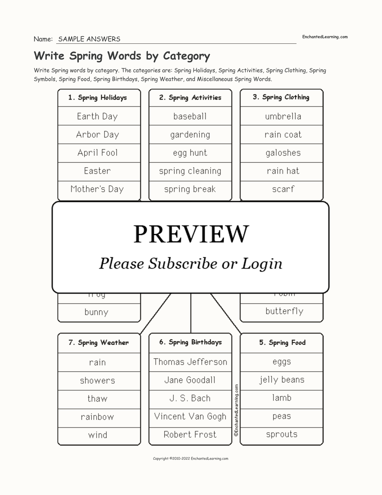 Write Spring Words by Category interactive worksheet page 2