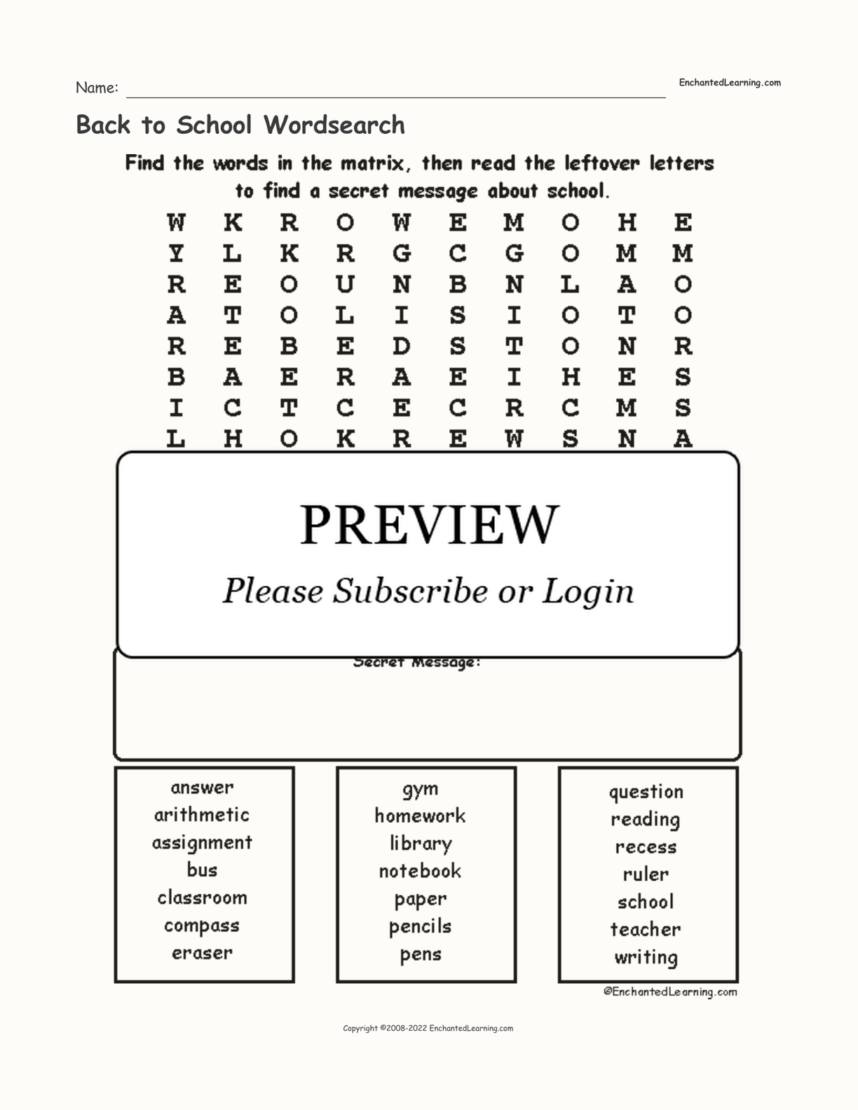 Back to School Wordsearch interactive worksheet page 1