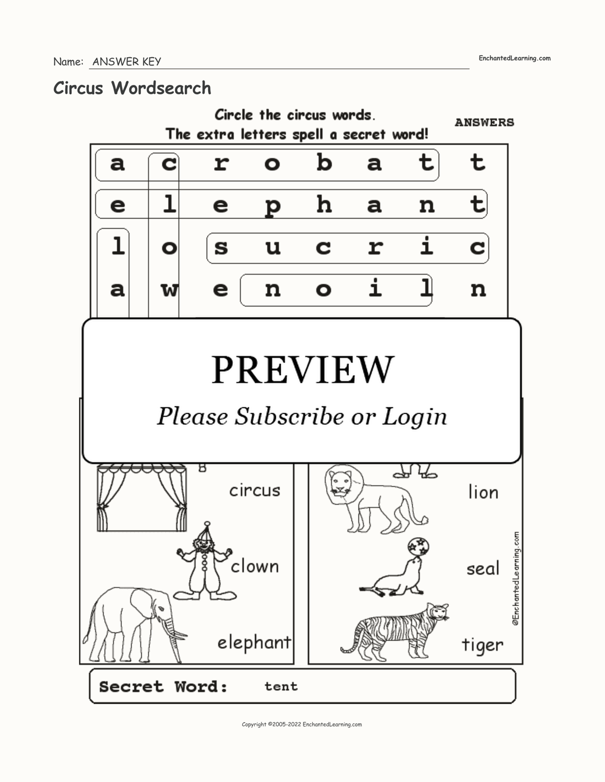 Circus Wordsearch interactive worksheet page 2