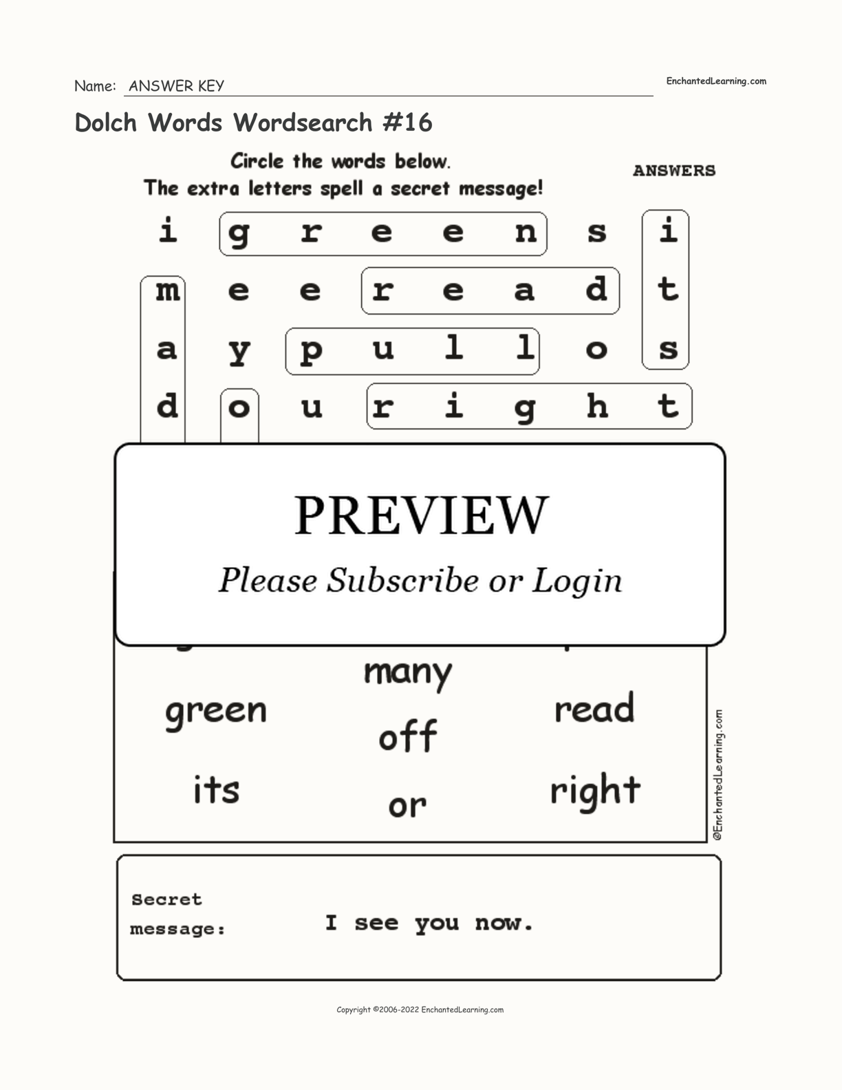 Dolch Words Wordsearch #16 interactive worksheet page 2
