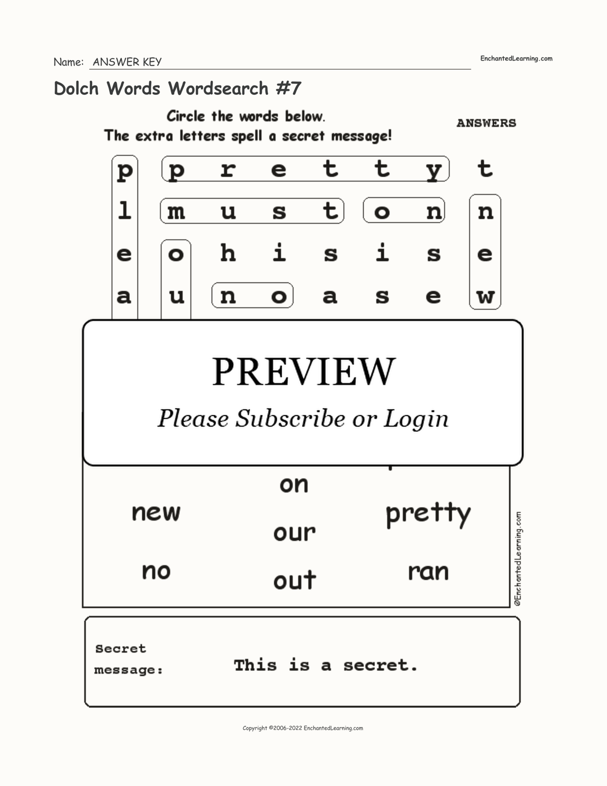 Dolch Words Wordsearch #7 interactive worksheet page 2