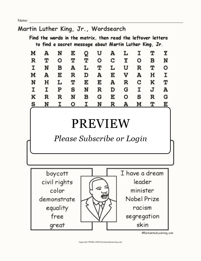 graphic regarding Martin Luther King Word Search Printable named Martin Luther King, Jr., Wordsearch - Enchanted Studying