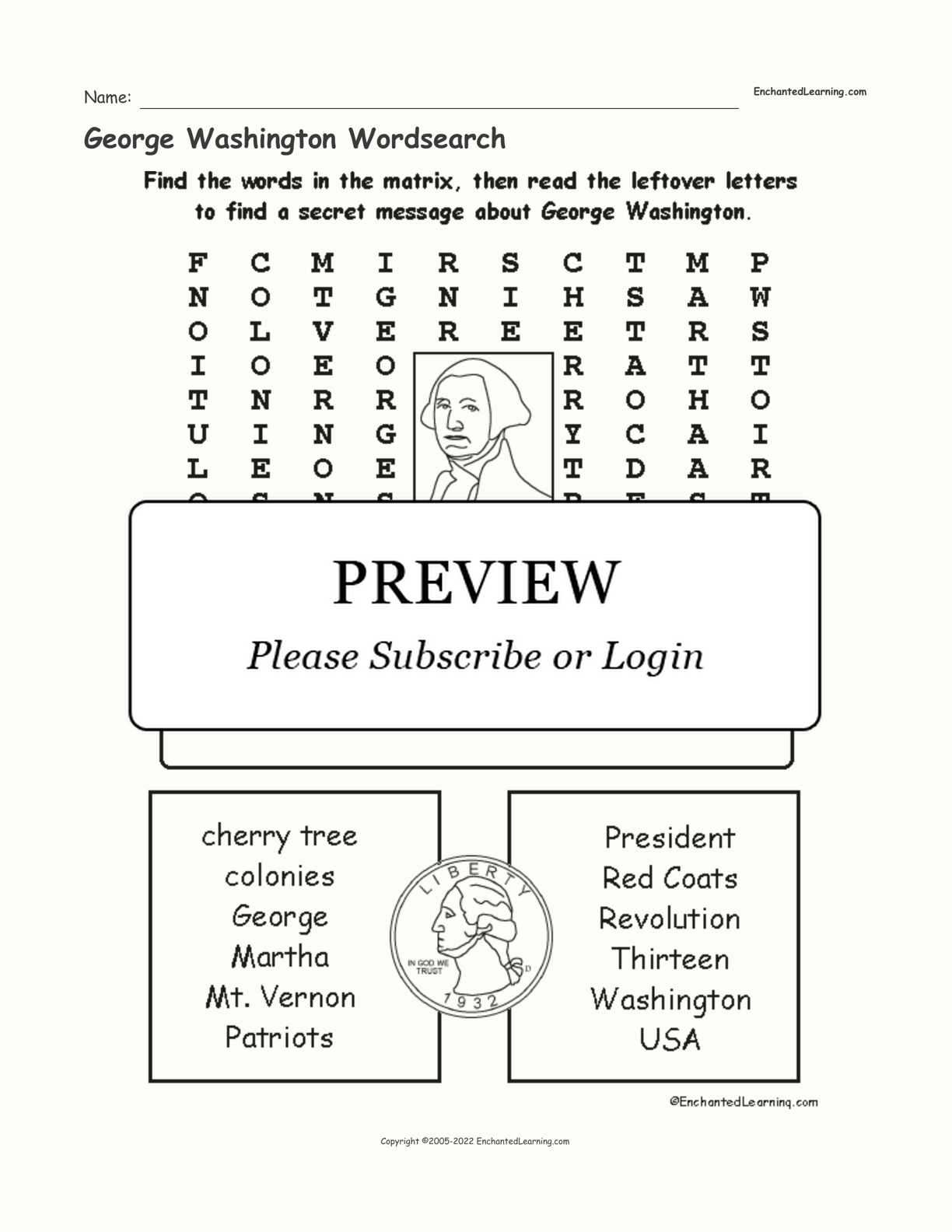 George Washington Wordsearch interactive worksheet page 1
