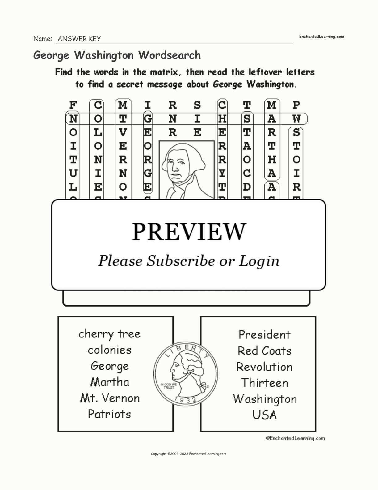 George Washington Wordsearch interactive worksheet page 2
