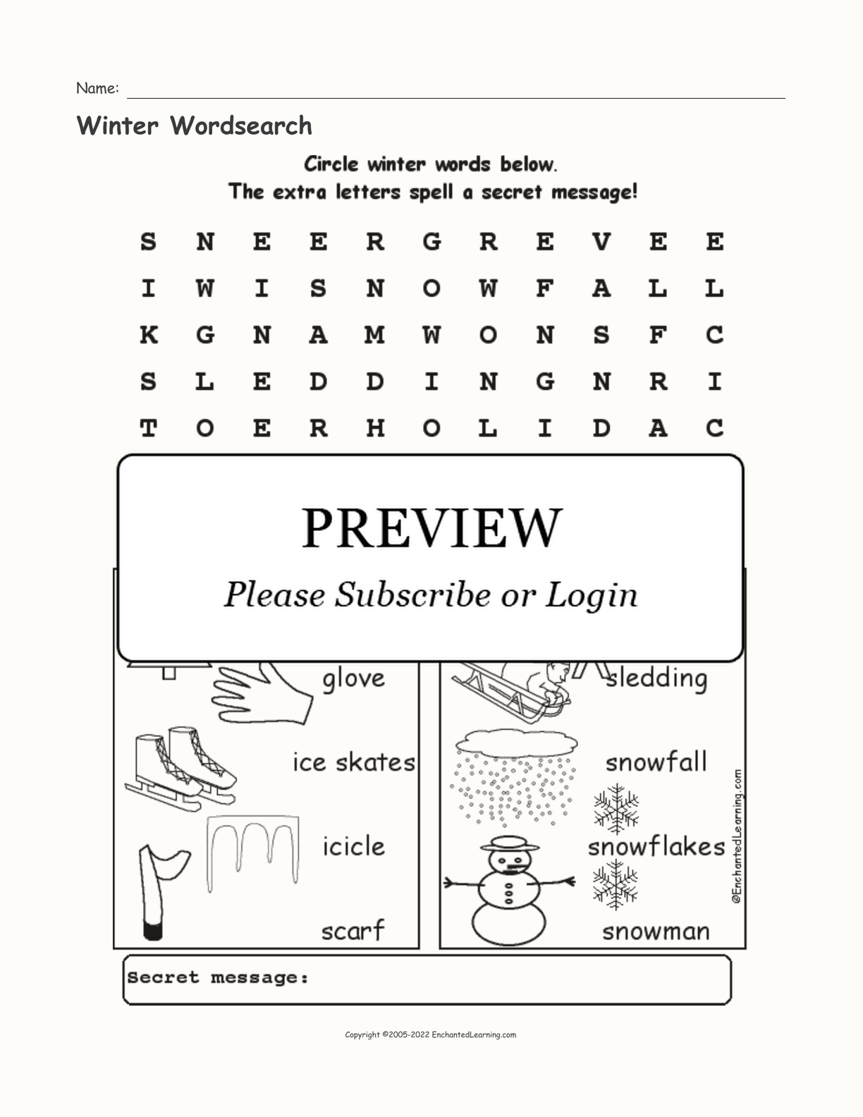 Winter Wordsearch interactive worksheet page 1