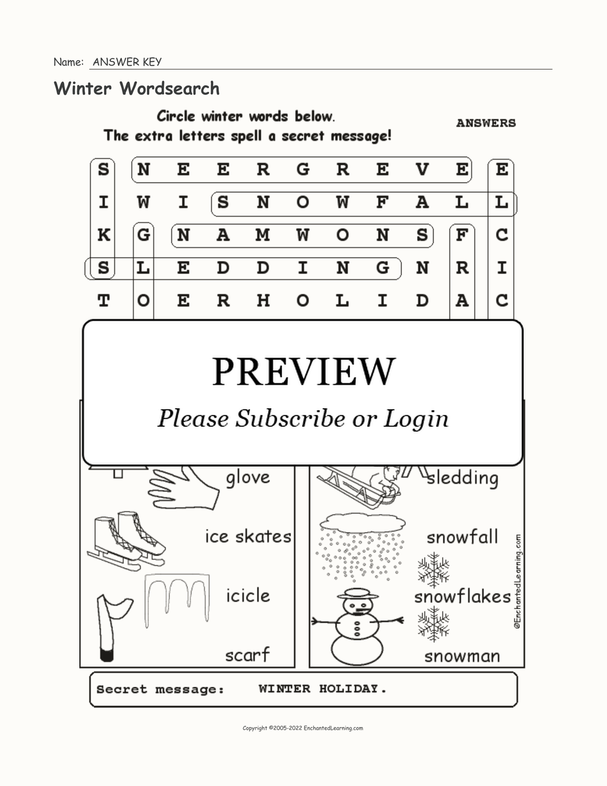 Winter Wordsearch interactive worksheet page 2